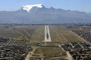 El Alto, La Paz's airport...pretty sporty!